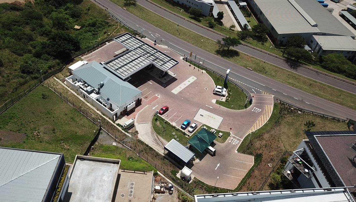 Earthworks to create forecourt building platform